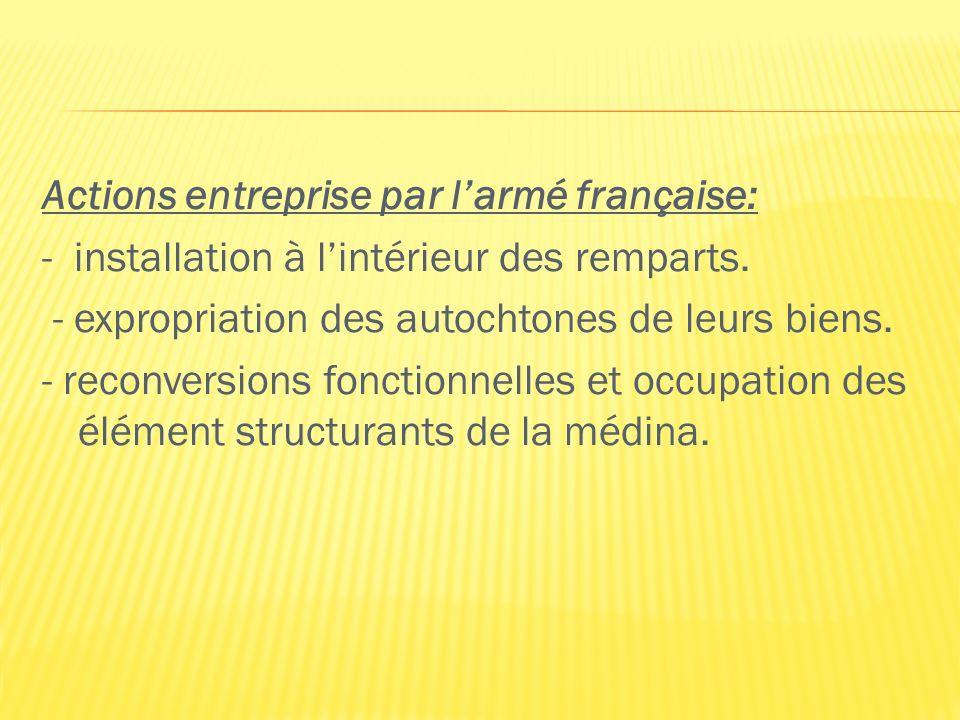 Actions entreprise par l'armé française: