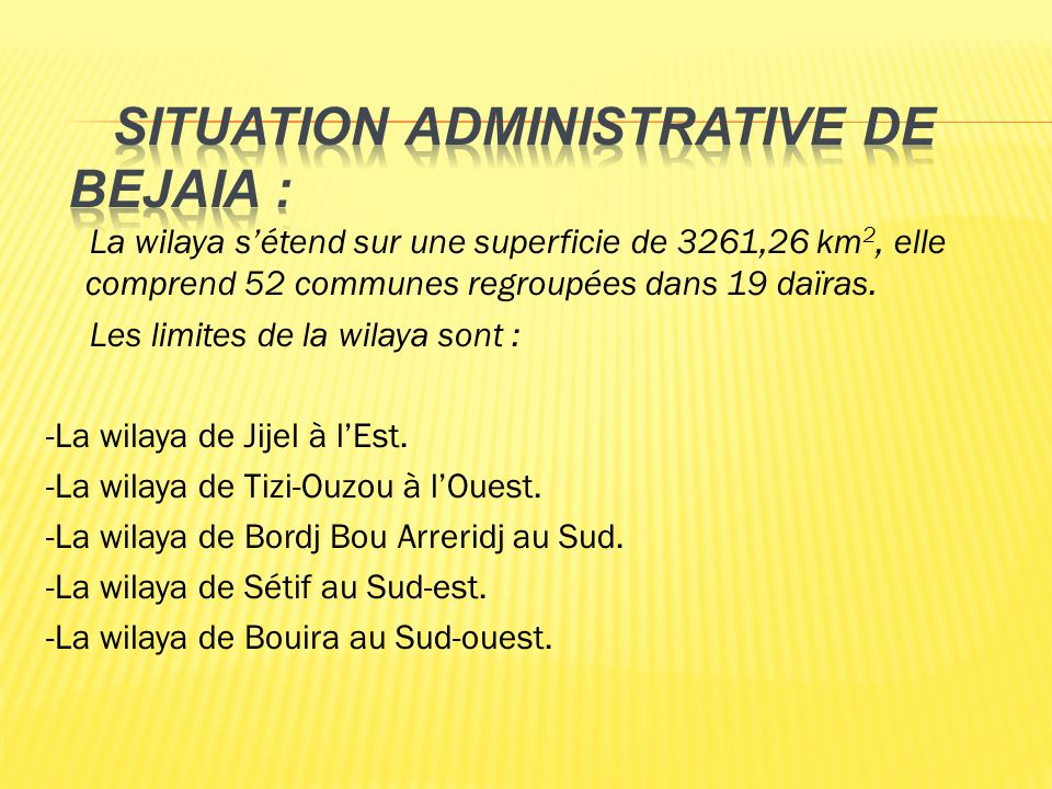 Situation administrative de Bejaia :
