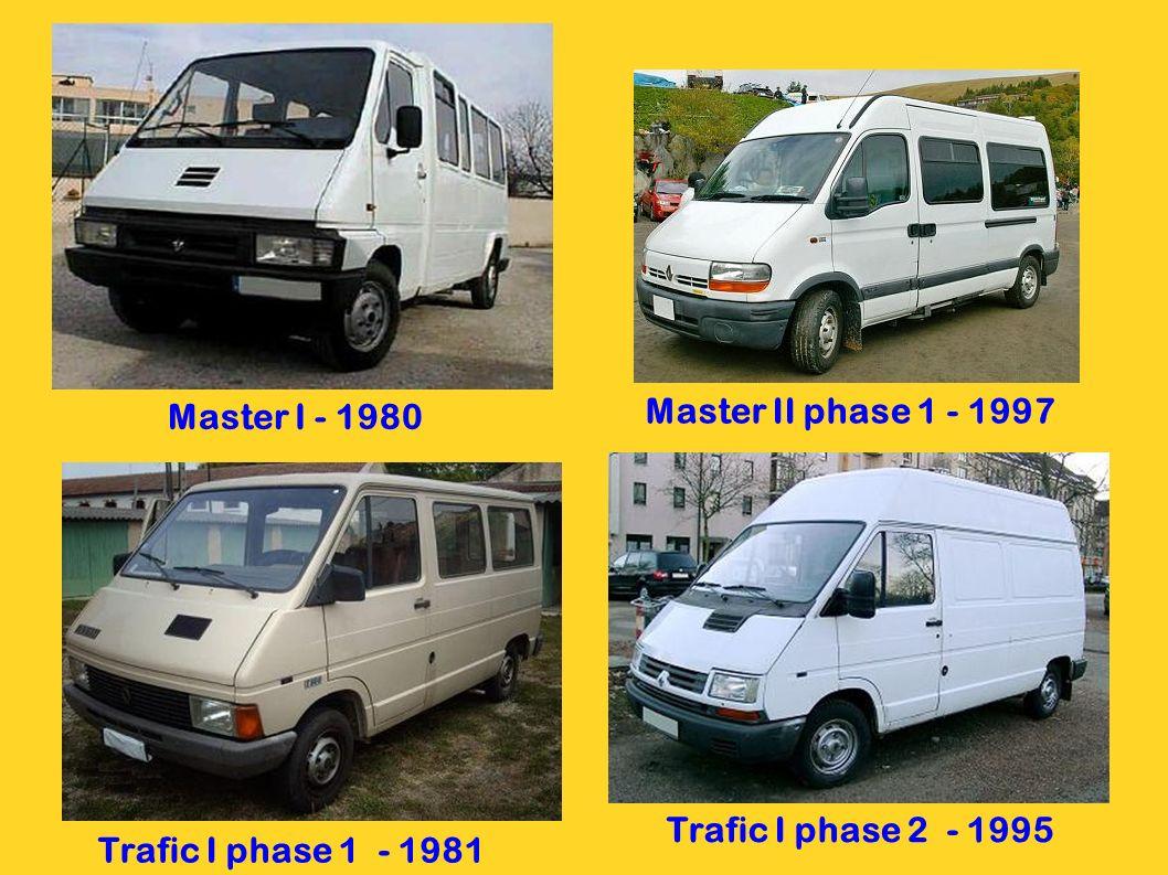 Master I - 1980 Master II phase 1 - 1997 Trafic I phase 2 - 1995 Trafic I phase 1 - 1981