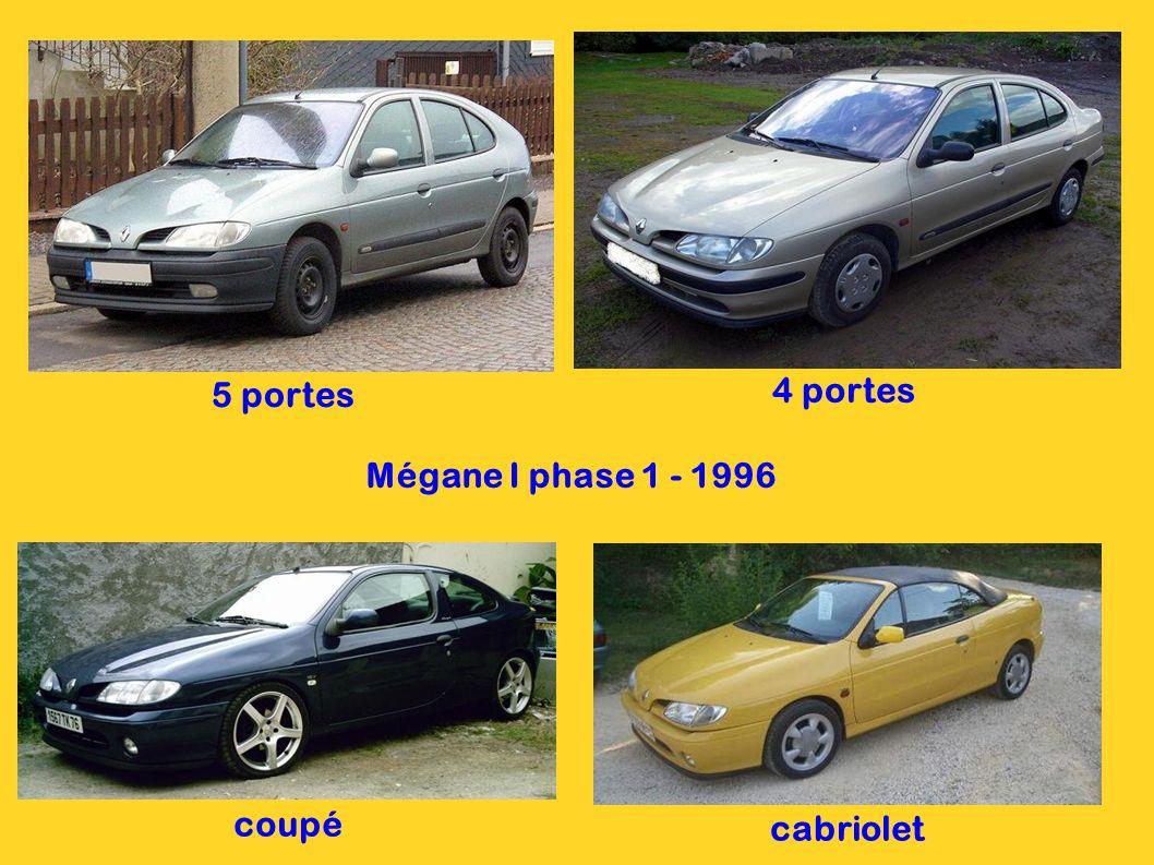 5 portes 4 portes Mégane I phase 1 - 1996 coupé cabriolet