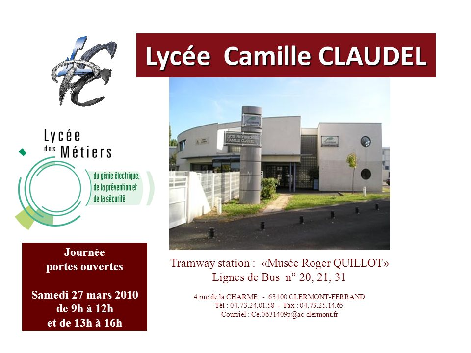 Lycée Camille CLAUDEL Journée portes ouvertes