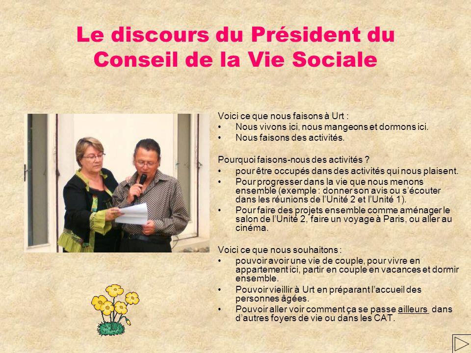 Le discours du Président du Conseil de la Vie Sociale
