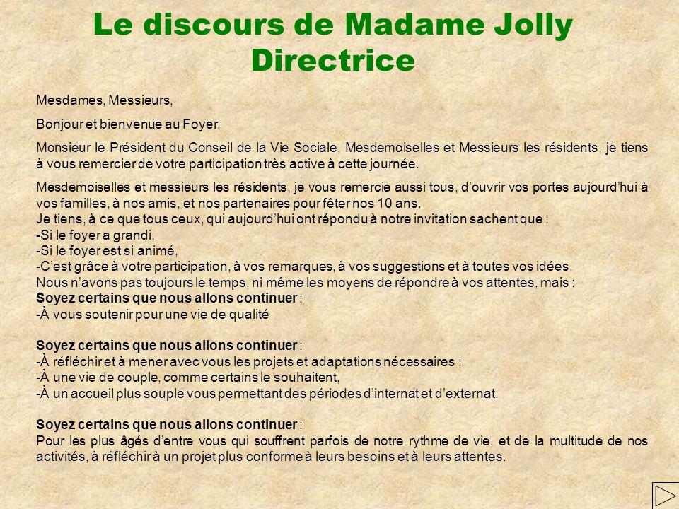 Le discours de Madame Jolly Directrice