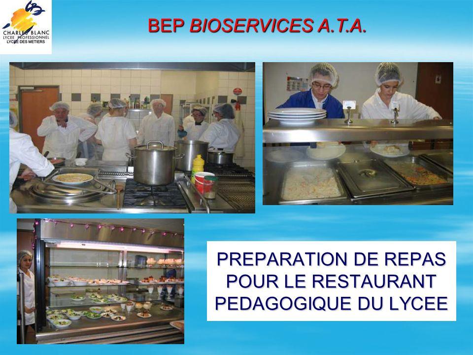 PREPARATION DE REPAS POUR LE RESTAURANT PEDAGOGIQUE DU LYCEE