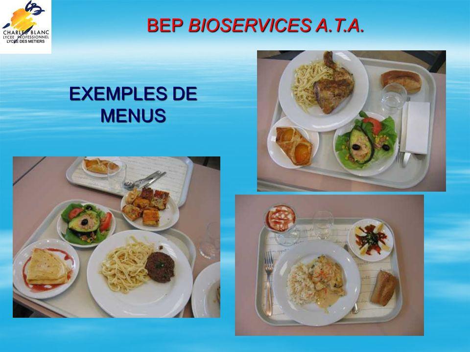 BEP BIOSERVICES A.T.A. EXEMPLES DE MENUS