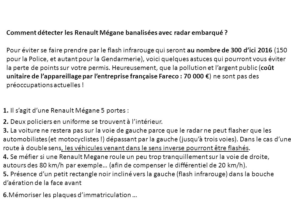 Comment détecter les Renault Mégane banalisées avec radar embarqué