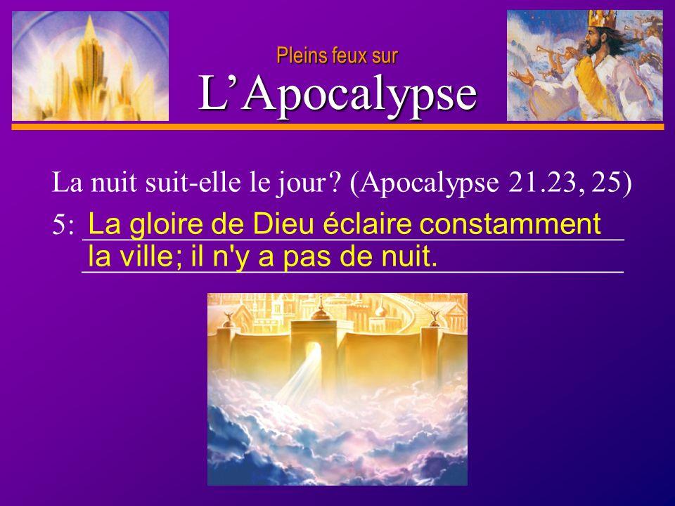 L'Apocalypse La nuit suit-elle le jour (Apocalypse 21.23, 25)