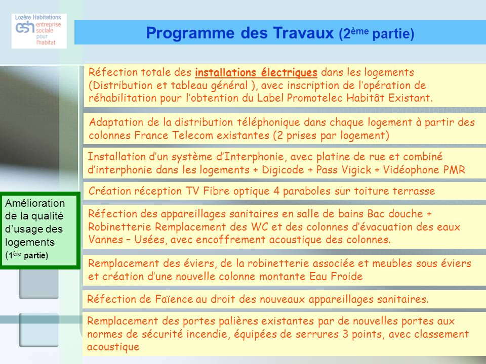 Programme des Travaux (2ème partie)