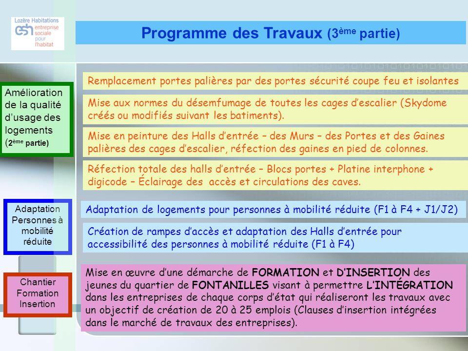 Programme des Travaux (3ème partie)