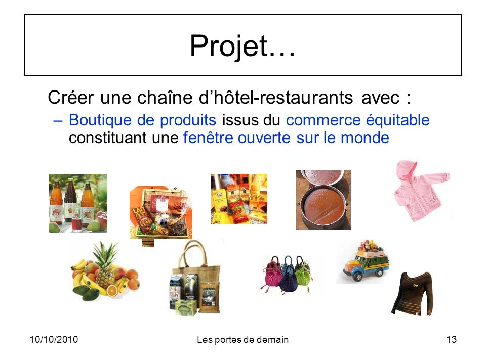 Projet… Créer une chaîne d'hôtel-restaurants avec :