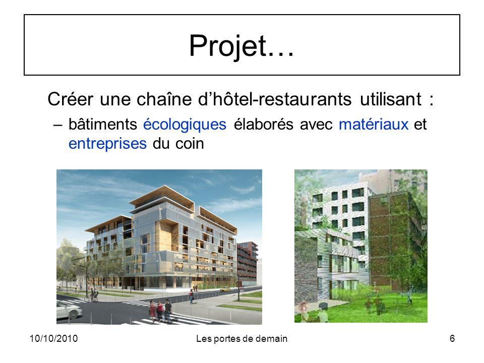 Projet… Créer une chaîne d'hôtel-restaurants utilisant :