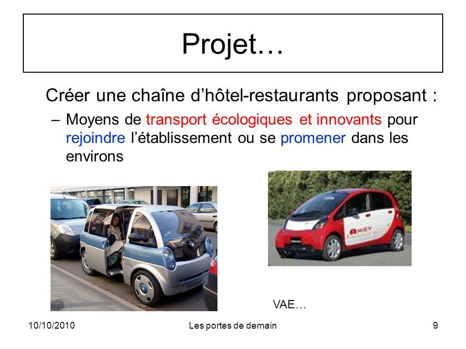Projet… Créer une chaîne d'hôtel-restaurants proposant :
