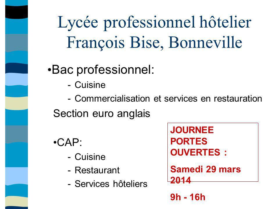 Lycée professionnel hôtelier François Bise, Bonneville