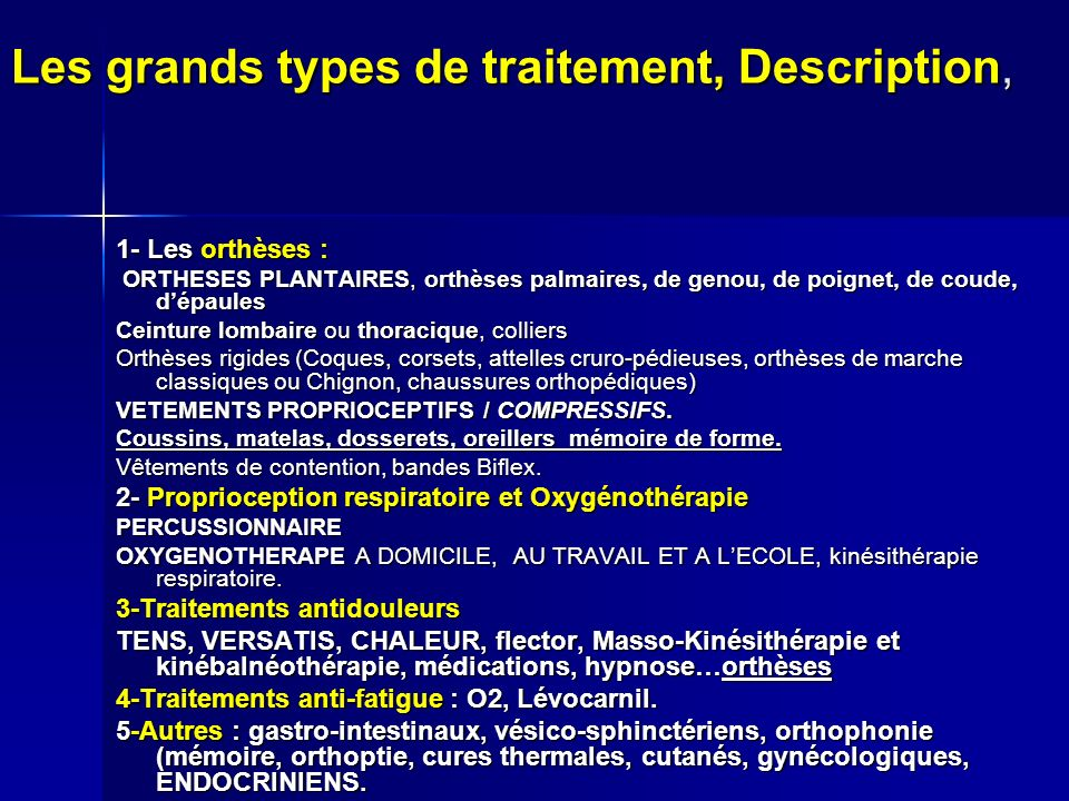 Les grands types de traitement, Description,