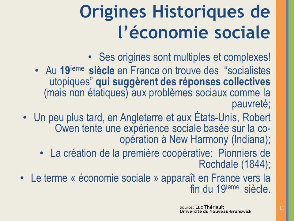 Origines Historiques de l'économie sociale