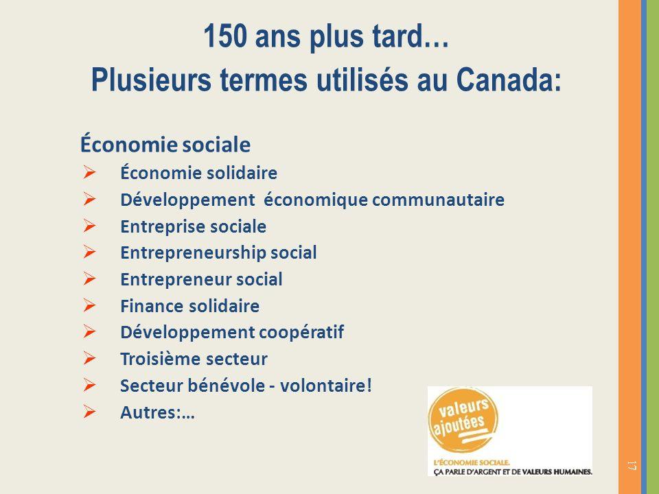 Plusieurs termes utilisés au Canada: