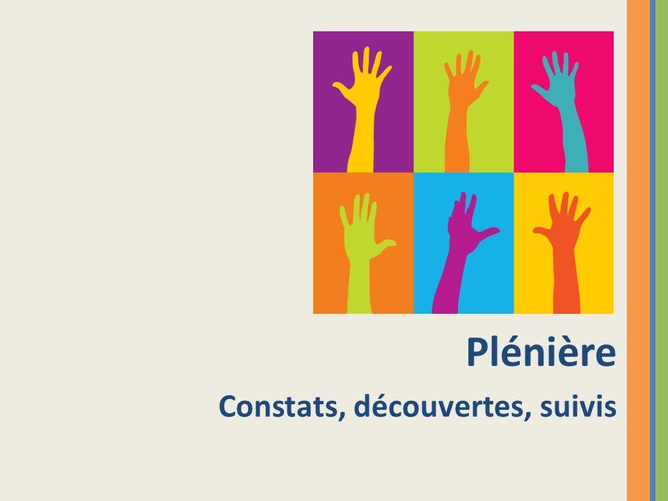 Plénière Constats, découvertes, suivis