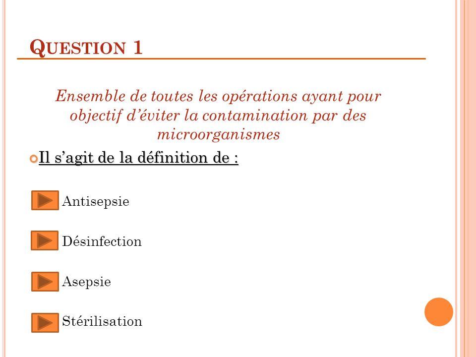 Question 1 Ensemble de toutes les opérations ayant pour objectif d'éviter la contamination par des microorganismes.