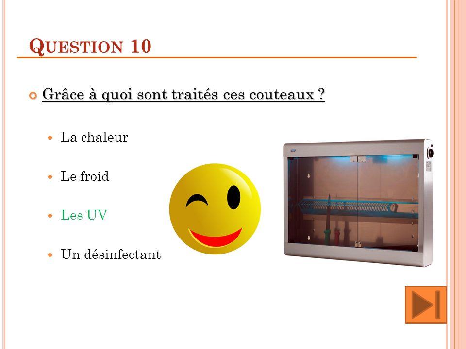 Question 10 Grâce à quoi sont traités ces couteaux La chaleur