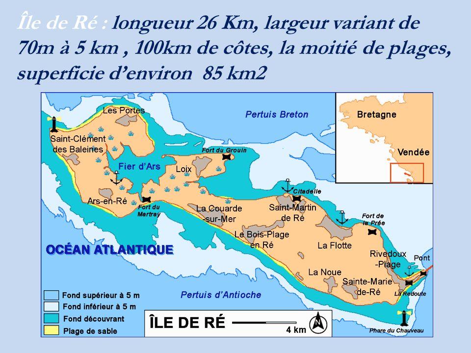 Île de Ré : longueur 26 Km, largeur variant de 70m à 5 km , 100km de côtes, la moitié de plages, superficie d'environ 85 km2