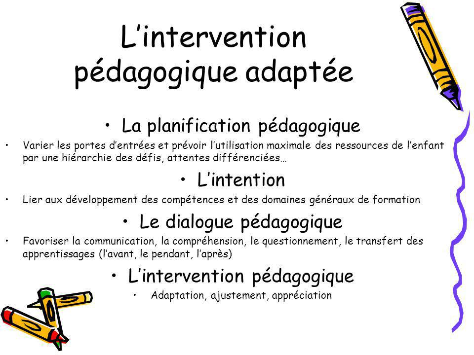L'intervention pédagogique adaptée