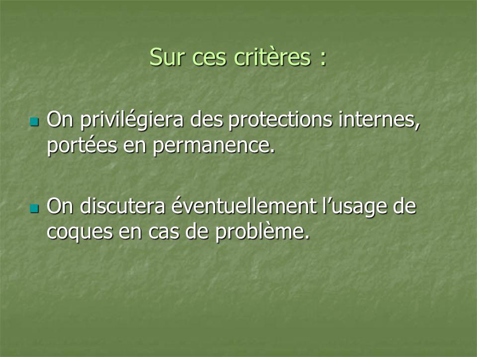Sur ces critères : On privilégiera des protections internes, portées en permanence.