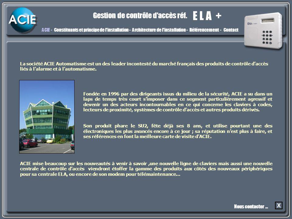 Acie E L A + Gestion de contrôle d accès réf.