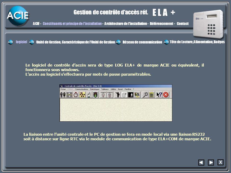 constit E L A + Gestion de contrôle d accès réf.