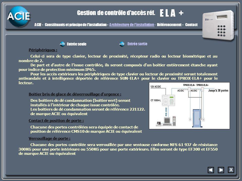 archi3 E L A + Gestion de contrôle d accès réf.