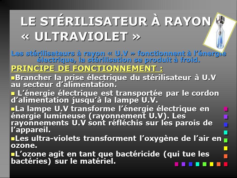 LE STÉRILISATEUR À RAYON « ULTRAVIOLET »