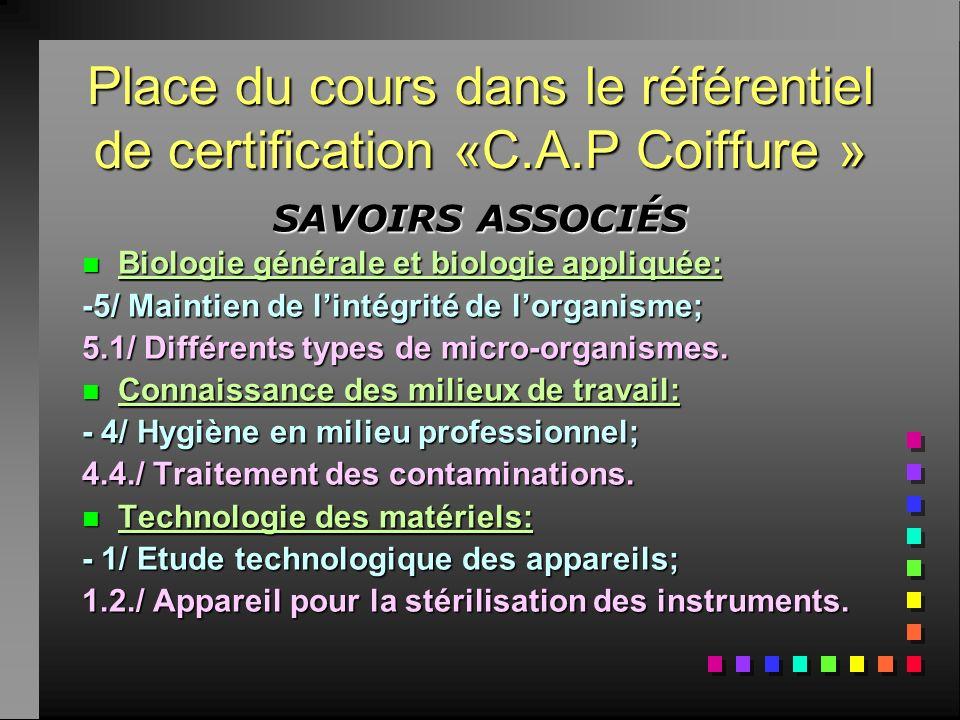 Place du cours dans le référentiel de certification «C.A.P Coiffure »
