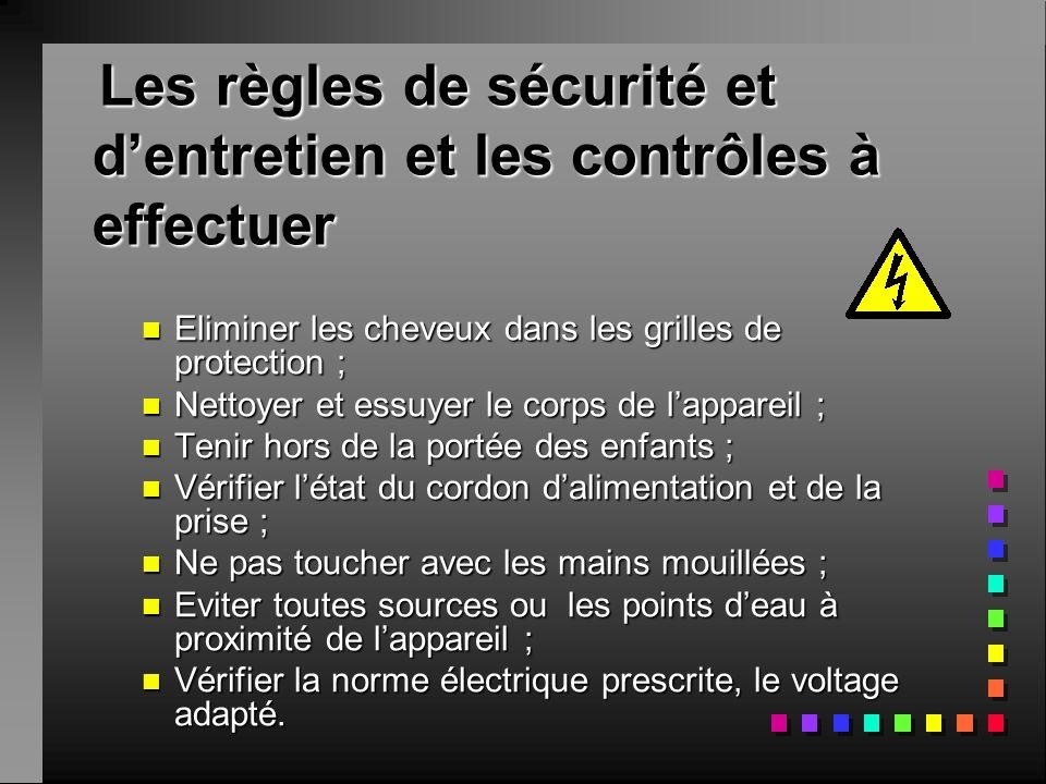 Les règles de sécurité et d'entretien et les contrôles à effectuer