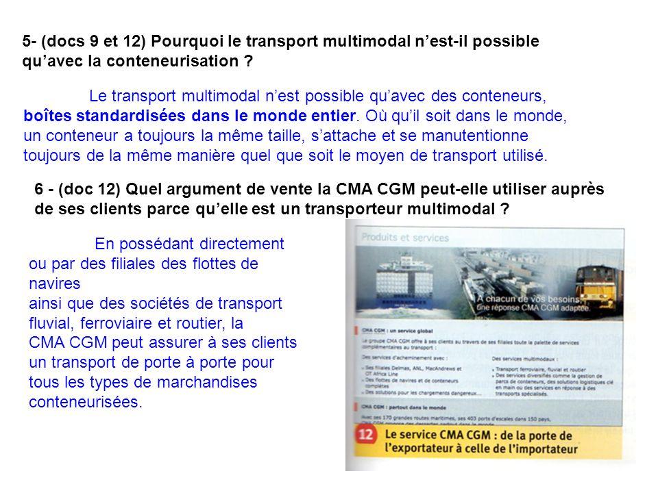 5- (docs 9 et 12) Pourquoi le transport multimodal n'est-il possible qu'avec la conteneurisation