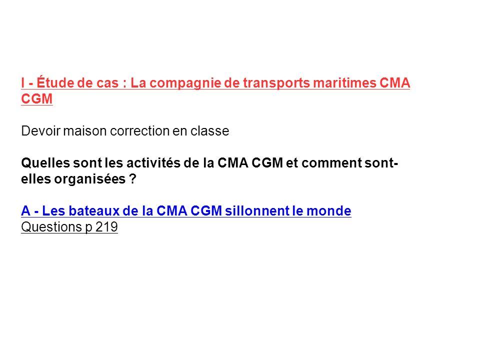 I - Étude de cas : La compagnie de transports maritimes CMA CGM