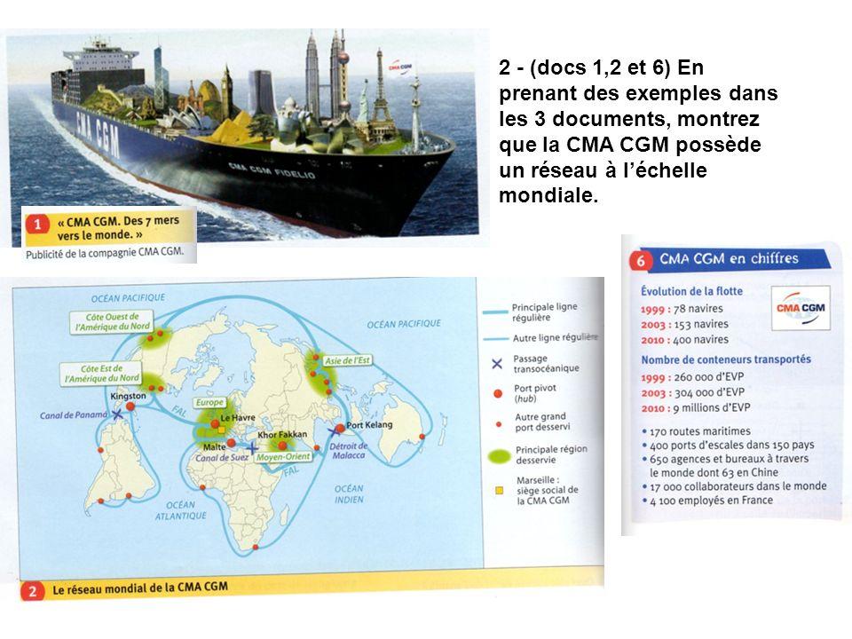 2 - (docs 1,2 et 6) En prenant des exemples dans les 3 documents, montrez que la CMA CGM possède un réseau à l'échelle mondiale.