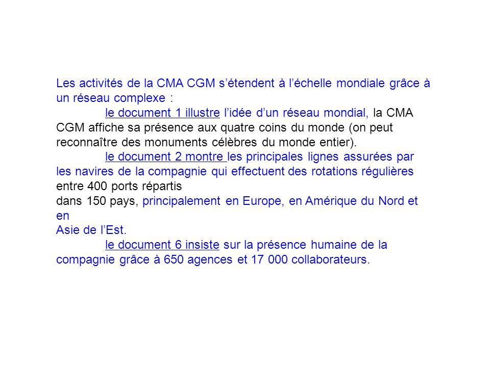 Les activités de la CMA CGM s'étendent à l'échelle mondiale grâce à un réseau complexe :