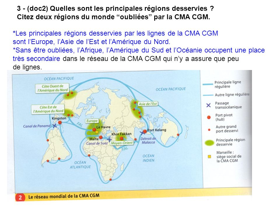 3 - (doc2) Quelles sont les principales régions desservies