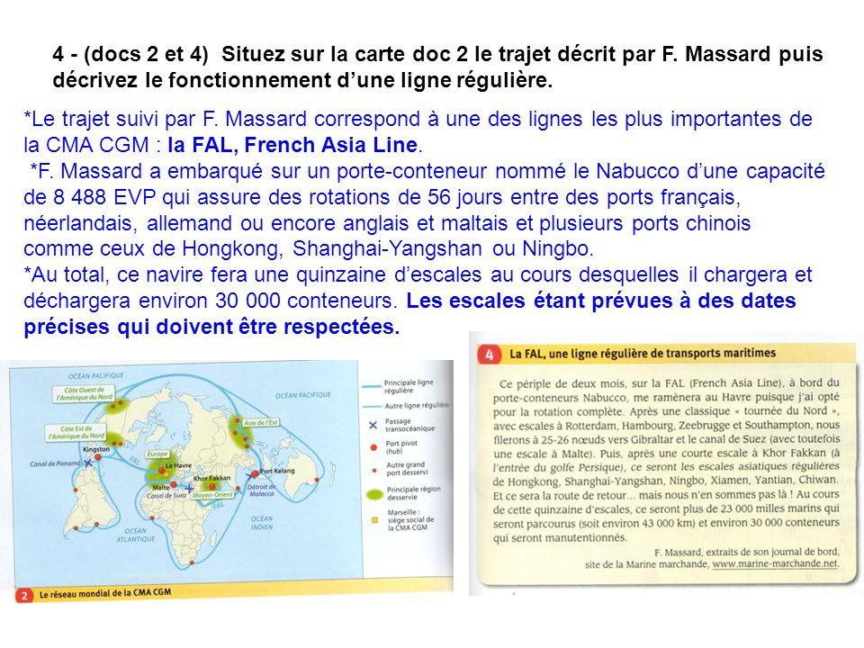 4 - (docs 2 et 4) Situez sur la carte doc 2 le trajet décrit par F