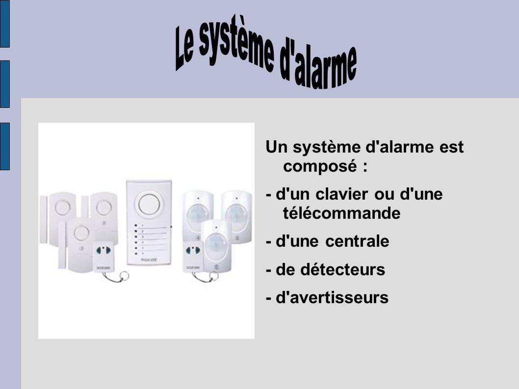 Le système d alarme Un système d alarme est composé :