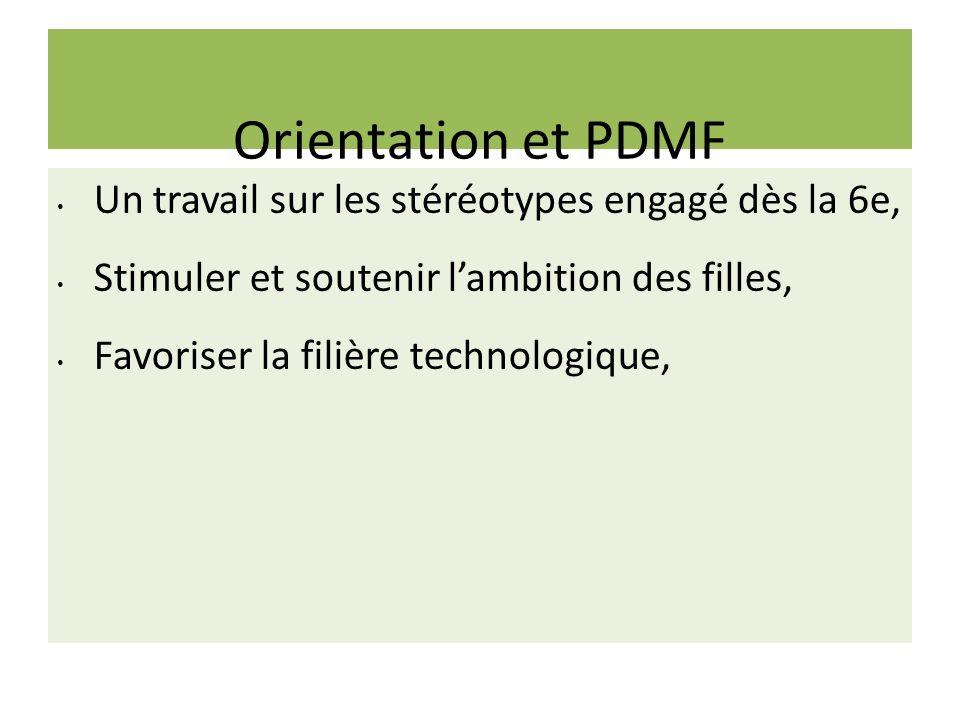 Orientation et PDMF Un travail sur les stéréotypes engagé dès la 6e,