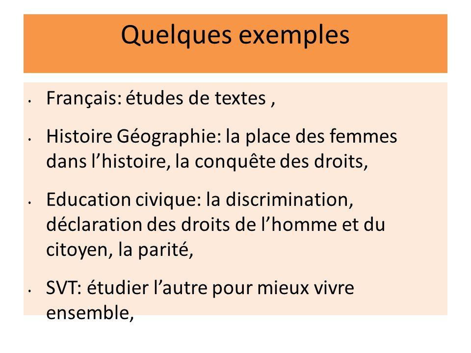 Quelques exemples Français: études de textes ,