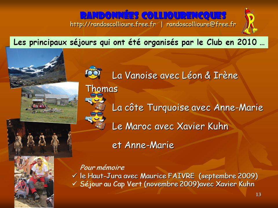Les principaux séjours qui ont été organisés par le Club en 2010 …