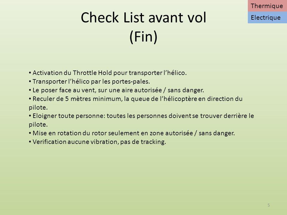 Check List avant vol (Fin)