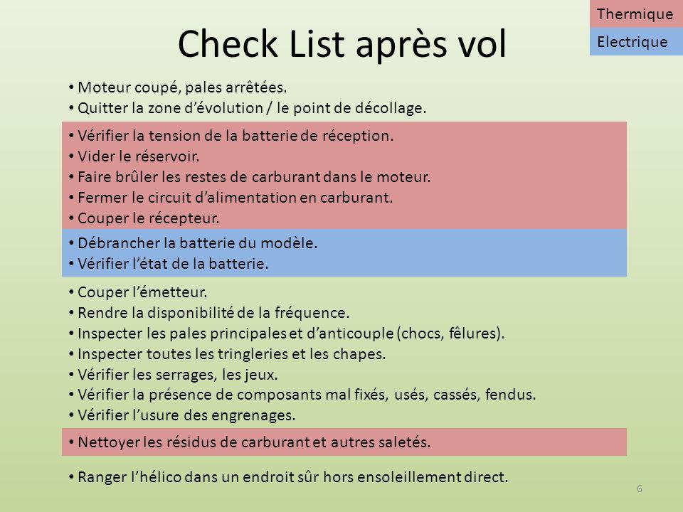 Check List après vol Thermique Electrique