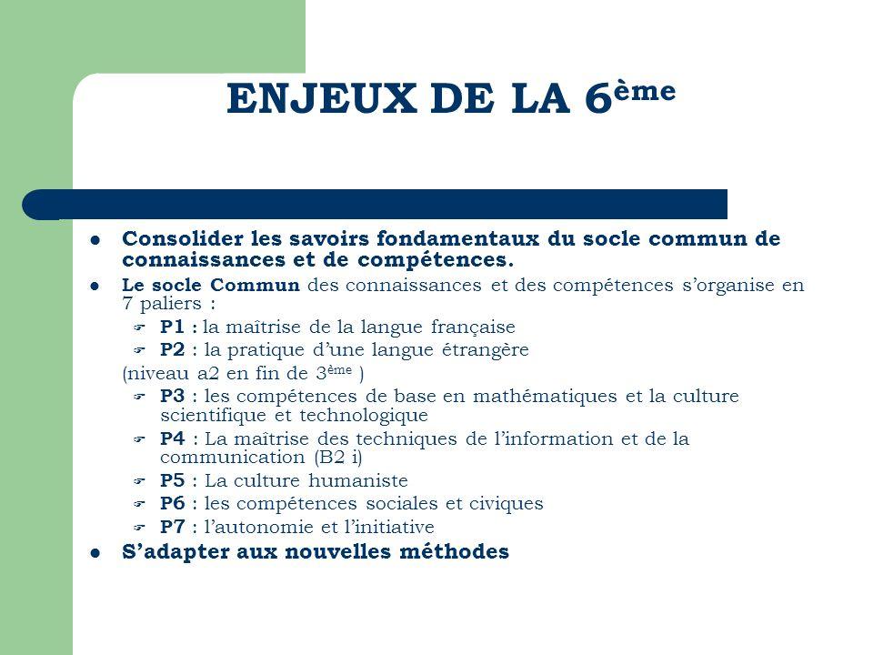 ENJEUX DE LA 6ème Consolider les savoirs fondamentaux du socle commun de connaissances et de compétences.