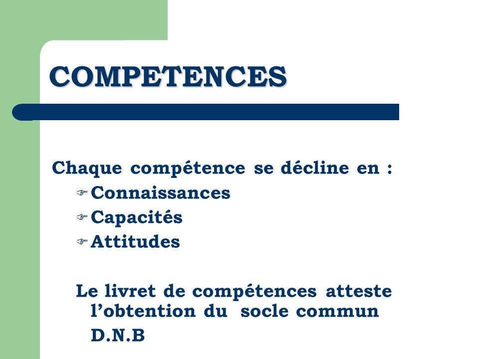 COMPETENCES Chaque compétence se décline en : Connaissances Capacités