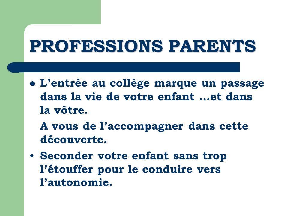 PROFESSIONS PARENTS L'entrée au collège marque un passage dans la vie de votre enfant …et dans la vôtre.
