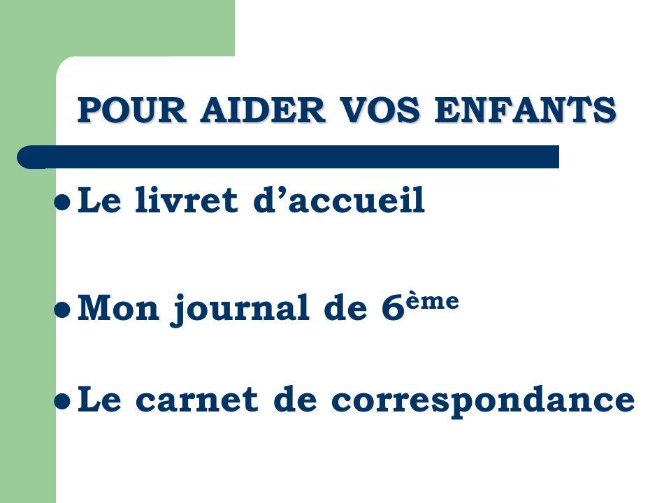 POUR AIDER VOS ENFANTS Le livret d'accueil Mon journal de 6ème Le carnet de correspondance