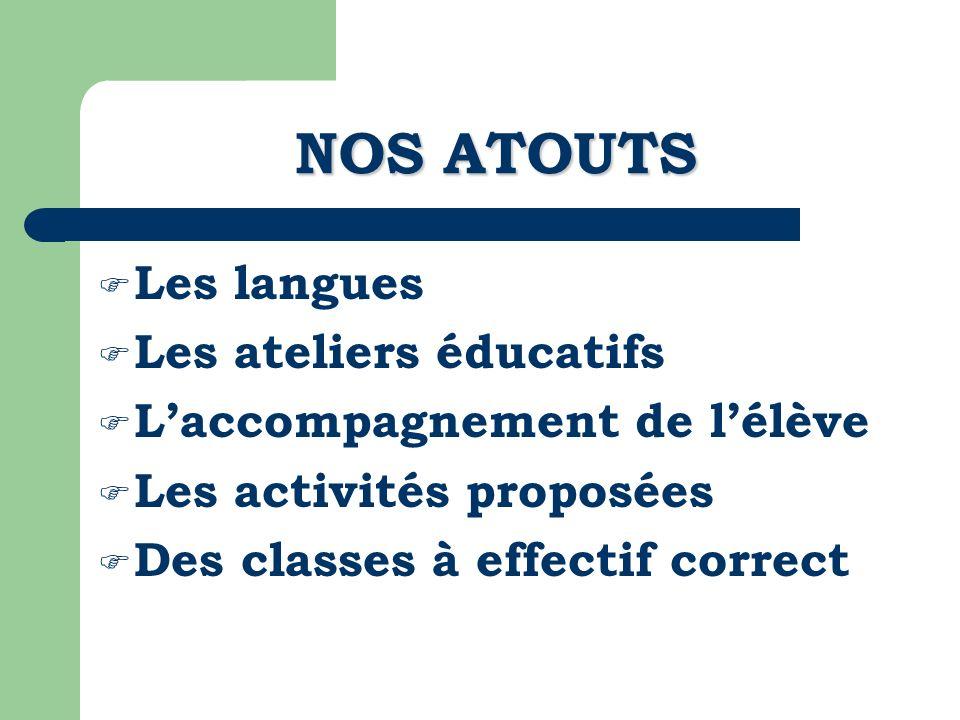 NOS ATOUTS Les langues Les ateliers éducatifs