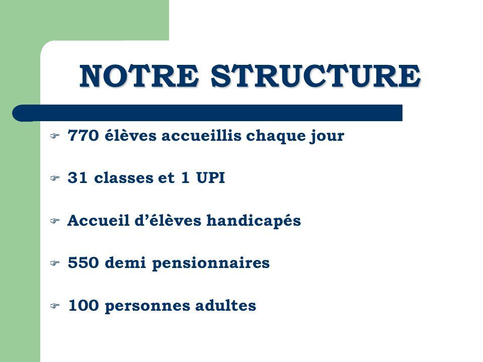 NOTRE STRUCTURE 770 élèves accueillis chaque jour 31 classes et 1 UPI